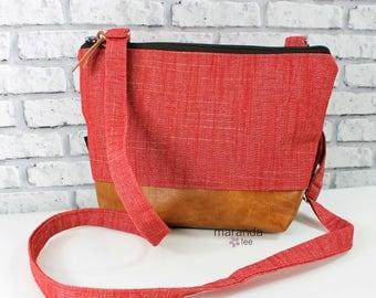 BRI Large Messenger Bag  Red Denim  - READY to SHIP