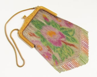 Vintage Art Deco Whiting Davis Dresden Painted Mesh Purse 1920s Chain Mail