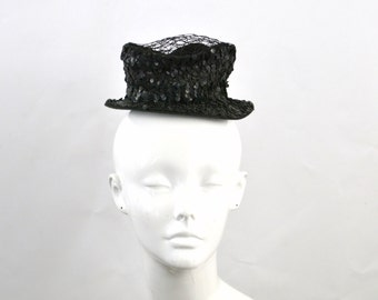 Vintage Black Sequin and Netted Mini Top Hat by Evelynvaron Model
