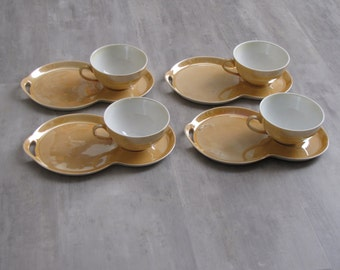 Vintage Gold Irridescent Victoria Czechoslovakia Snack Set - 4 cups, 4 snack trays