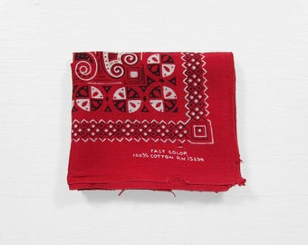 Vintage Turkey Red Bandanna Faded Cotton Fast Color Handkerchief Distressed Large Size