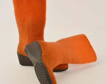 Felted boots from softest merino wool -8US (38 EU) women -orange- ready to ship - rubber soles- OOAK