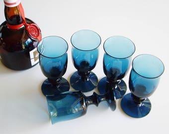 Vintage, Bertil Vallien, Glasses, Aquavit, Snaps, BV112, Juice, Boda Afors, Swedish, Scandinavian, Barware, Teal, Turquoise, Mid Century