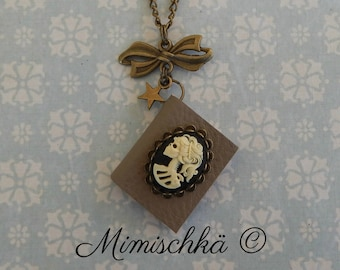 Necklace little book cameo skeleton