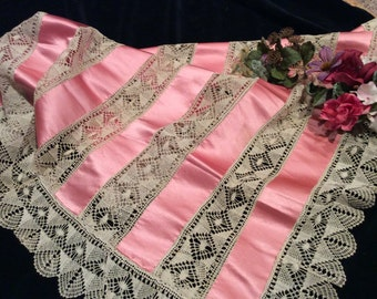 Vintage Linen Lace and Rose Silk Square Cover, Antique Lace and Silk Pillow Cover