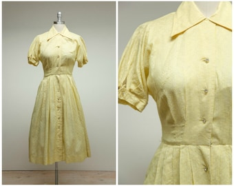 Vintage 1950s Dress • Sunshine and Laughter • Yellow Striped 50s Shirtwaist Dress Full Skirt Size Small
