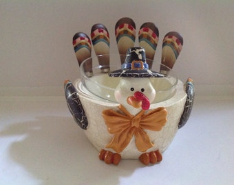 Turkey Serving Bowl for Dip, Cheese with 5 Spreaders, Dip,bowl, Appetizer Serving Bowl