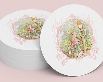 PETER RABBIT STICKER Pink Seal, Gift Tag, Gift Card, Label, Round, Circle, Peter Rabbit Cupcake Topper Printable Digital File 1006