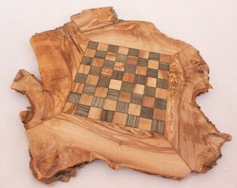 Unique Olive Wood Rustic Chess Set