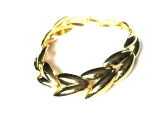 Bracelet Scarab Beetle Wings Chainlink Gold Plate Statement 1980s