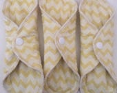 "3 Moderate/Light Yellow Chevron 8"" Cloth Pads"
