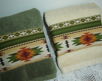 Aztec/Navajo/Native American tribal design hand/dish towels, Southwestern decor, wheat or moss green, cotton terry, kitchen bathroom