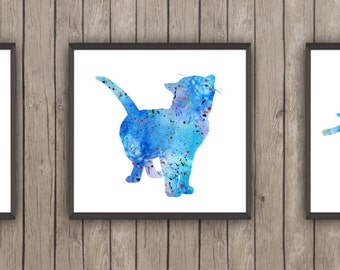 CAT SET of 3 Digital Posters, Cat Art Prints, Instant Download Art, painting for christmas, cat for christmas, animal print