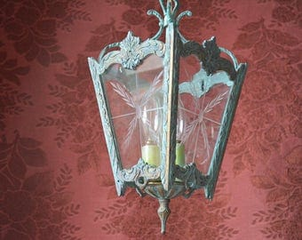 "Victorian Style Lighting, Brass with Verdigris Patina, 15"" h. x 6"" w. at top x 3.5"" w. at bottom"