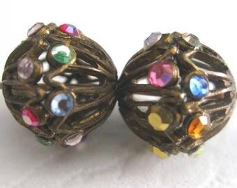 Vintage Filigree & Crystal Beads E358B