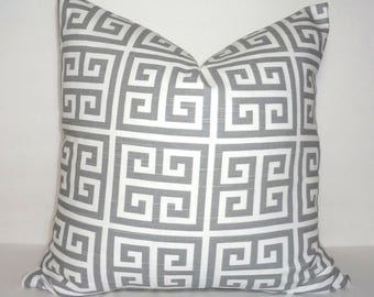 Grey and White Greek Key Towers Geometric Print Pillow Covers Decorative Throw Pillow Covers All Sizes