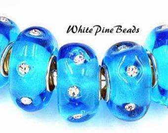 Murano Glass Beads Aqua Blue  Handmade European Charm Bracelets WhitePineBeads