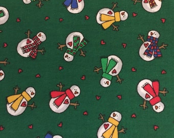 "1 Yard Plus 17"" Christmas, Winter 100% Fabric Green with Snowman Print - Red, Yellow, Blue, Hearts - Trena's Little Bit of Christmas 2004"