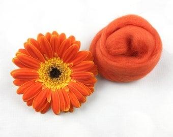 Spice Orange Merino Wool Roving, wool roving, wet felting wool, nuno felting wool, needle felting wool, spinning wool, orange merino wool