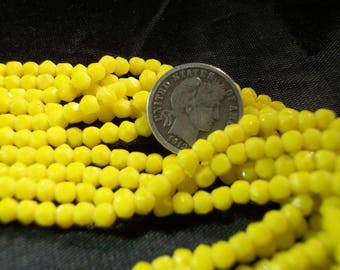 Czech Greasy Yellow English Cut Vintage Glass Beads 3mm - 25 Pieces