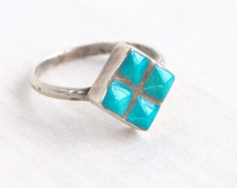 Square Turquoise Ring Size 5 Sterling Silver Vintage Southwestern Diamond Pinky Ring Midi Ring Modern Southwest
