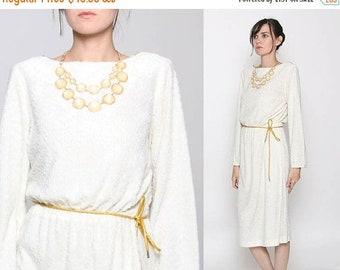 ON SALE Vintage 70s Ivory Gold Textured Long Sleeve Goddess Dress