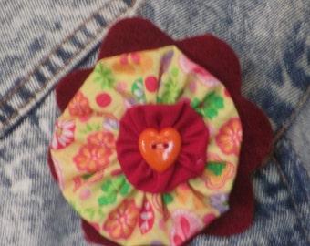 Orange heart fabric pin/brooch