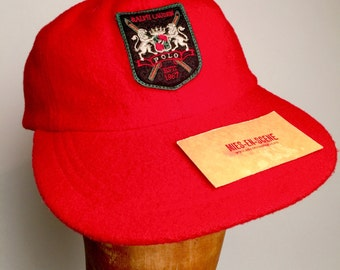 Vintage 92 93 Red wool Ralph Lauren POLO SPORT Ski Cap / Hat (Size L)