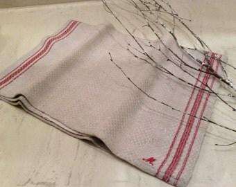 Antique Red Striped Linen Homespun Towel Monogrammed M, Vintage Table Cover, Vintage Textiles, Vintage Fabric
