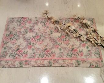 Vintage Cloth Travel Bag Pink Floral Cotton Print with Pink Ribbon Edging
