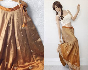Boho Maxi Skirt, Festival Ombré in Gold Silk, Fully Embroidered and Beaded, Floor Length Swing Skirt, Adjustable Size S, M, L, Silk, Vintage