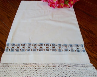 Pillowcase Small White Vintage Pillow Case with Hand Crochet Lace Trim Bed Linens Bedding