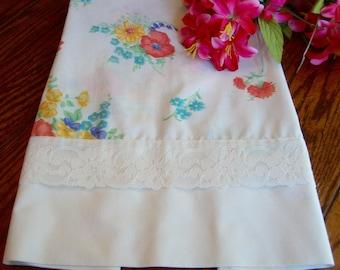 Single Floral Pillowcase Vintage Pillow Slip Lace Trim Bed Linens