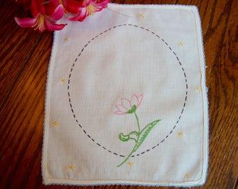 Small Linen Doily Pink Floral Embroidered Doily Sampler Vintage Linens