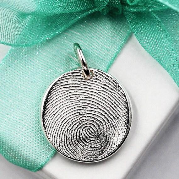 Fingerprint Charm Jewelry Custom made keepsake of pure .999 Fine Silver for Charm Bracelet, Pendant, Necklace