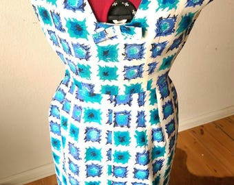 Gorgeous 1950s White Blues Atomic Abstract Print Sleeveless Rayon Dress