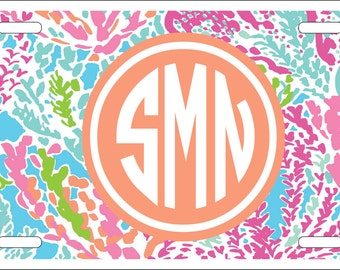 Personalized License Plate- Monogrammed Car Tag- Perfect Sweet Sixteen Gift - Lilly Inspired Coral Cha Cha