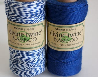 CLOSEOUT - Bamboo Divine Twine - Navy in Solid  or Stripe Bakers Twine - Full Spool - 180 yards