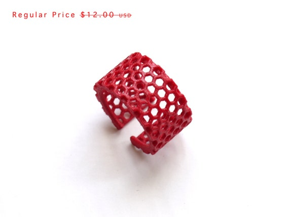 bright minimalist jewelry, red geometric ring - Slim Perforated Honeycomb Ring. 3d printed, modern. SALE