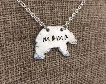 Mama bear necklace  sterling silver mothers necklace
