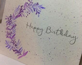 OOAK Lavender Leaves Happy Birthday Card