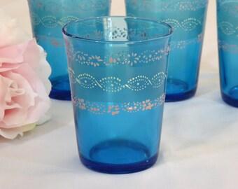 FOUR Vintage Aqua Blue Turquoise Drinking Glasses
