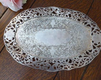 "Forbes Silver Co Etched Pierced Footed Oval Tray 12"" x 8.25"", Old Silver Plate Etched Flat Bowl with Feet"