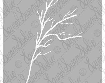 Graceful Branch Instant Download, Soft Gray and White Minimalist, Simple Silhouette, PDF JPG PNG