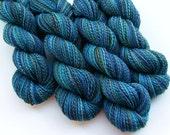 Multi-skein Set, Luxury Handspun Yarn - BLUE HAWAII - Handpainted Silk / Bluefaced Leicester wool, 2 ply Worsted weight, 988 yards