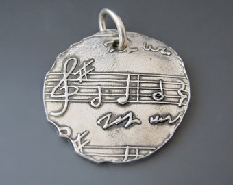 Fine Silver Sheet Music Charm / Music Jewelry / Music Necklace / Music Teacher Gift / Gifts for Her / Graduation Gift / Silver Music Pendant
