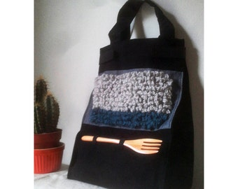 Cotton, canvas lunch bag, denim, crocheted, with handles and reusable wooden fork