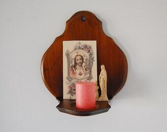 Wooden Shrine Wall Shelf, Religious Wall Shrine, Prayer Candle Altar