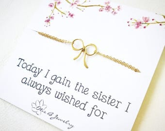 Gift for new sister in law, wedding jewelry, Dainty bow bracelet on message card, bridal, Gifts from the bride to sister of the groom