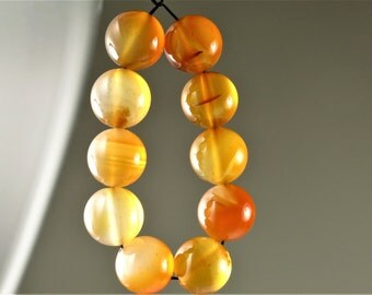 Luscious Translucent Natural Carnelian Round Bead - 12mm - 10 beads - B6448